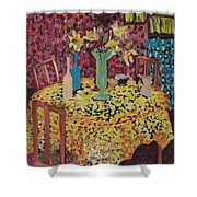 Yellow Table Shower Curtain by Karen Coggeshall
