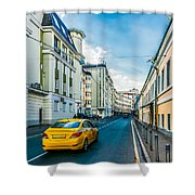 Yellow Taxi Of Moscow Shower Curtain