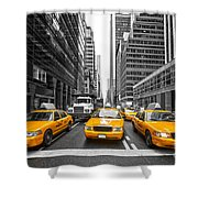 Yellow Taxis In New York City - Usa Shower Curtain