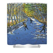 Yellow Trees  Allestree Park Shower Curtain