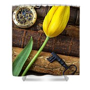 Yellow Tulip On Old Books Shower Curtain