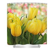 Yellow Tulips In The Spring Garden Shower Curtain