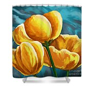 Yellow Tulips On Blue Shower Curtain
