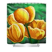 Yellow Tulips On Green Shower Curtain