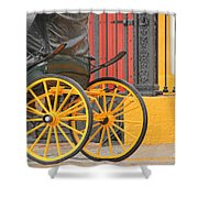 Yellow Wheeled Carriage In Seville Shower Curtain