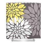 Yellow White Grey Peony Flowers Shower Curtain