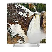 Yellowstone Falls From Lookout Point. Shower Curtain