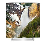 Yellowstone Falls In Spring Time Shower Curtain