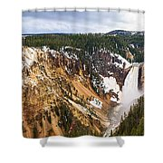 Yellowstone Falls Panorama Shower Curtain