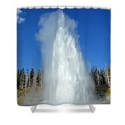 Yellowstone Grand Geyser Shooting Up High Shower Curtain