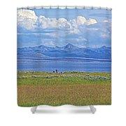 Yellowstone Lake In Yellowstone National Park-wyoming- Shower Curtain