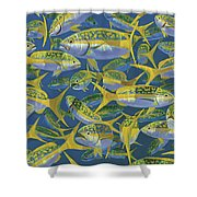 Yellowtail Frenzy In0023 Shower Curtain