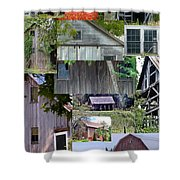 Yesterday Barns Collage Shower Curtain