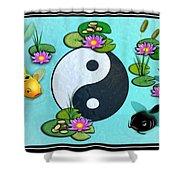 Yin Yang Koi Pond Scenery Shower Curtain