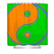 Yin Yang Orange Green Pop Art Shower Curtain