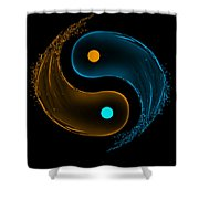 Yin Yang Water Splash Symbol  Shower Curtain