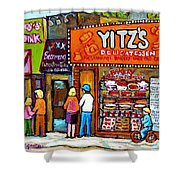 Yitzs Deli Toronto Restaurants Cafe Scenes Paintings Of Toronto Landmark City Scenes Carole Spandau  Shower Curtain
