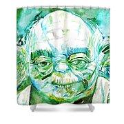 Yoda Watercolor Portrait Shower Curtain