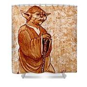 Yoda Wisdom Original Coffee Painting Shower Curtain