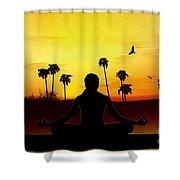 Yoga At Sunrise Shower Curtain by Bedros Awak