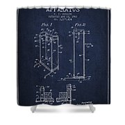 Yoga Exercising Apparatus Patent From 1968 - Navy Blue Shower Curtain
