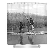 Yokuts Poling Tule Boats Shower Curtain