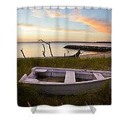 Yorktown Beach Sunset Shower Curtain