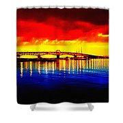 Yorktown Bridge Sunset Shower Curtain by Bill Cannon