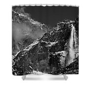 Yosemite Falls In Black And White Shower Curtain by Bill Gallagher