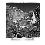 Yosemite Falls In Black And White II Shower Curtain by Bill Gallagher