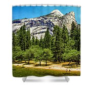 Yosemite Valley Along Yosemite River Beach Shower Curtain