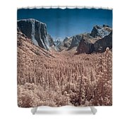 Yosemite Vally In Infrared Shower Curtain