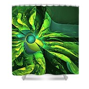 You Are Here --  Events Conspire -- Green Shower Curtain