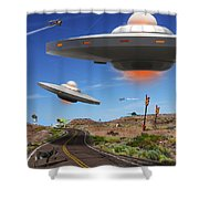 You Never Know What You Will See On Route 66 Shower Curtain by Mike McGlothlen