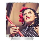 Young 50s Brunette Housewife Holding Red Mop Shower Curtain