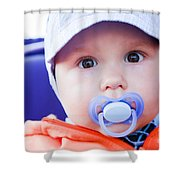 Young Baby Boy With A Dummy In His Mouth Outdoors Shower Curtain