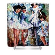 Young Ballerinas - Palette Knife Oil Painting On Canvas By Leonid Afremov Shower Curtain