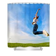 Young Beautiful Woman Jumping For Joy Shower Curtain