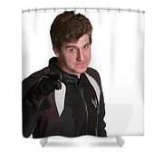 Young Biker Pointing Shower Curtain