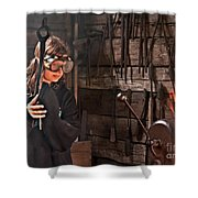 Young Blacksmith Girl Art Prints Shower Curtain