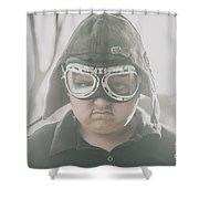 Young Boy Pilot. Battle Ready Shower Curtain