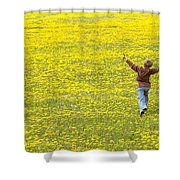 Young Boy Running Through Field Of Shower Curtain