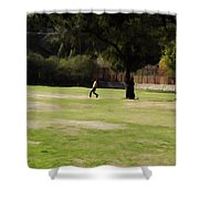 Young Boys Playing Cricket In A Park Near Delhi Zoo Shower Curtain
