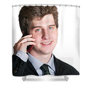 Young Business Man On The Cell Phone Shower Curtain