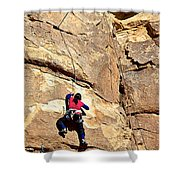 Young Climber In Joshua Tree Np-ca- Shower Curtain