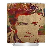 Young Clint Eastwood Actor Watercolor Portrait On Worn Parchment Shower Curtain