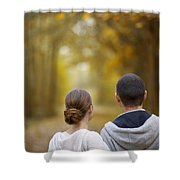 Young Couple Looking Ahead Shower Curtain