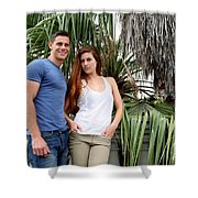 Young Couple Palm Tree Shower Curtain