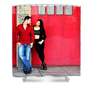 Young Couple Red Doors Shower Curtain
