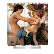 Young Girl Defending Herself Against Cupid Shower Curtain